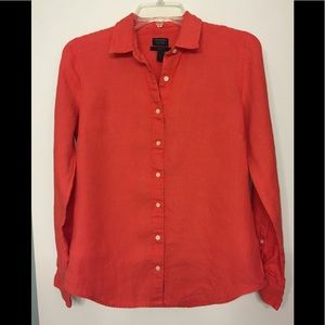 J. Crew Coral Linen Perfect Shirt